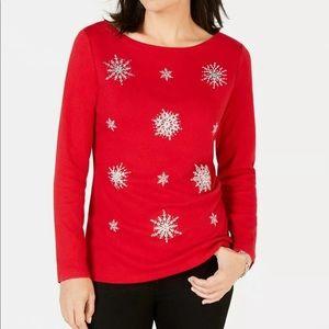 Christmas Red Snowflake Top